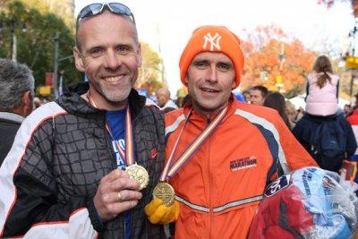 André Blok en Eric van Hal vlak na de finish